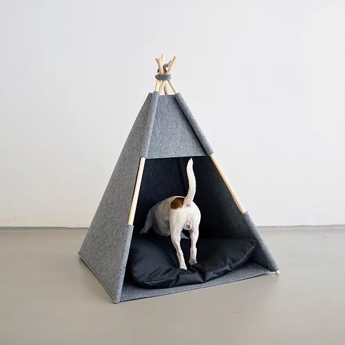 felt cat teepee grey felt cat cave enclosed cat bed