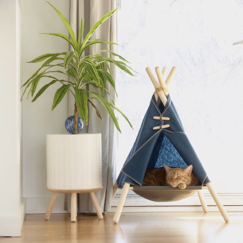 cat teepee cat hammock blue adventure tent